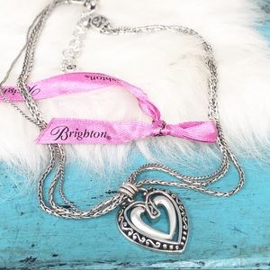 Brighton Open Heart 3 Strand Foxtail  Necklace